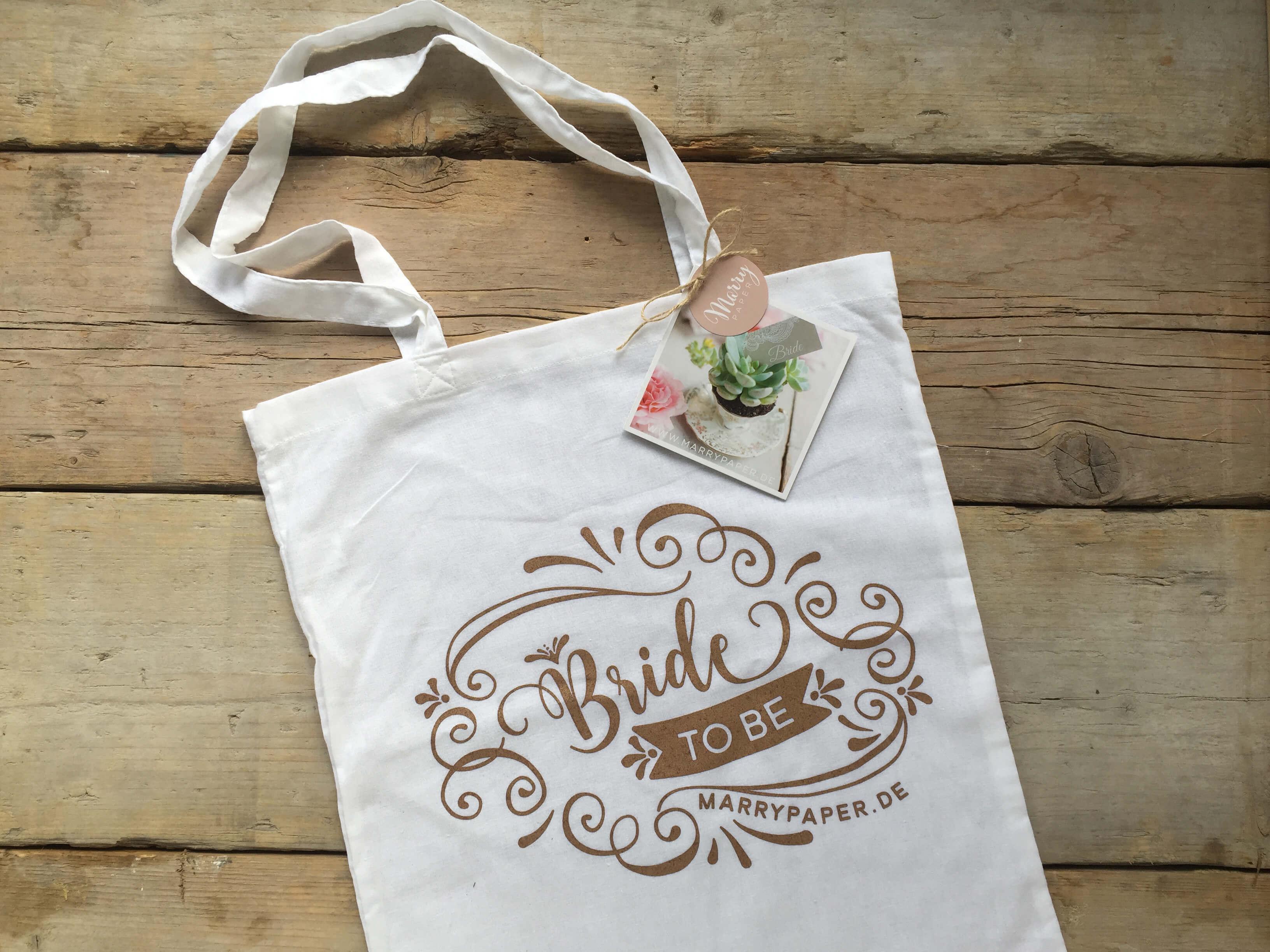 JGA Tasche, Bride to be Tascha Geschenk, Jutebeutel, lange Griffe, Gold, Aufdruck, für Junggesellinnenabschied