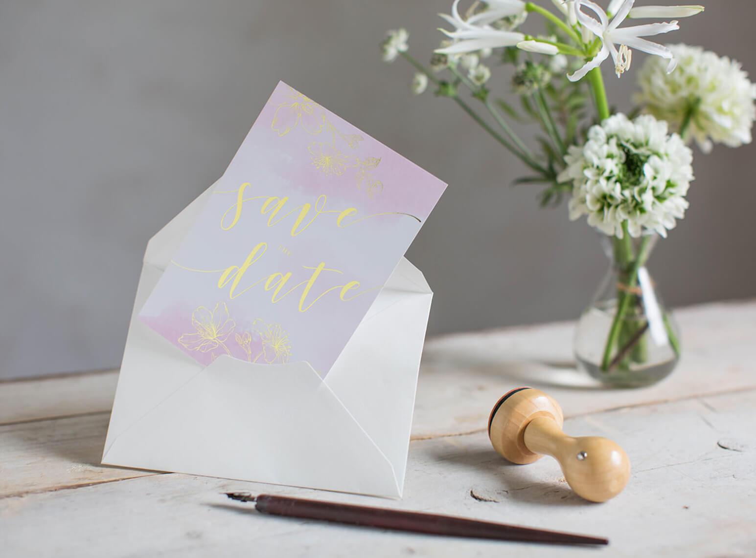 Save-the-Date | goldene Effektfolie