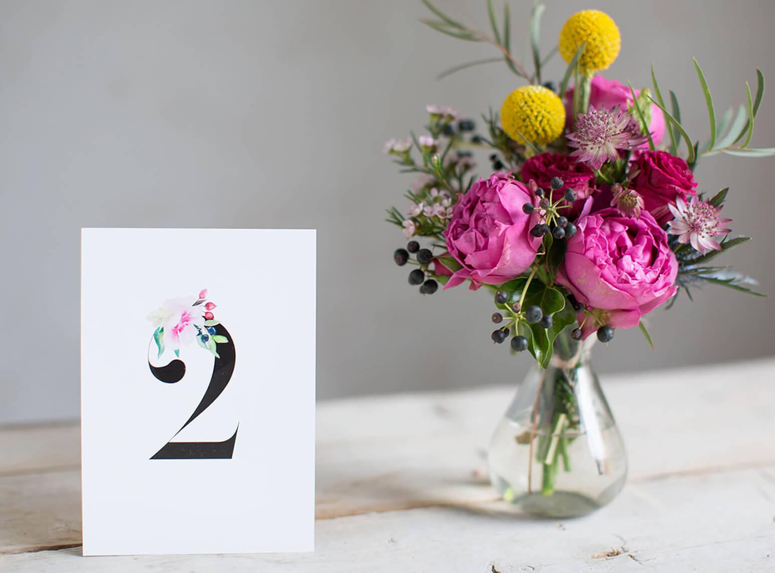 Tischnummern Hochzeit im Aquarell Stil