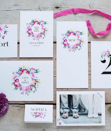 Hochzeitspapeterie Set im Aquarell-Farben Stil elegant und stilvoll