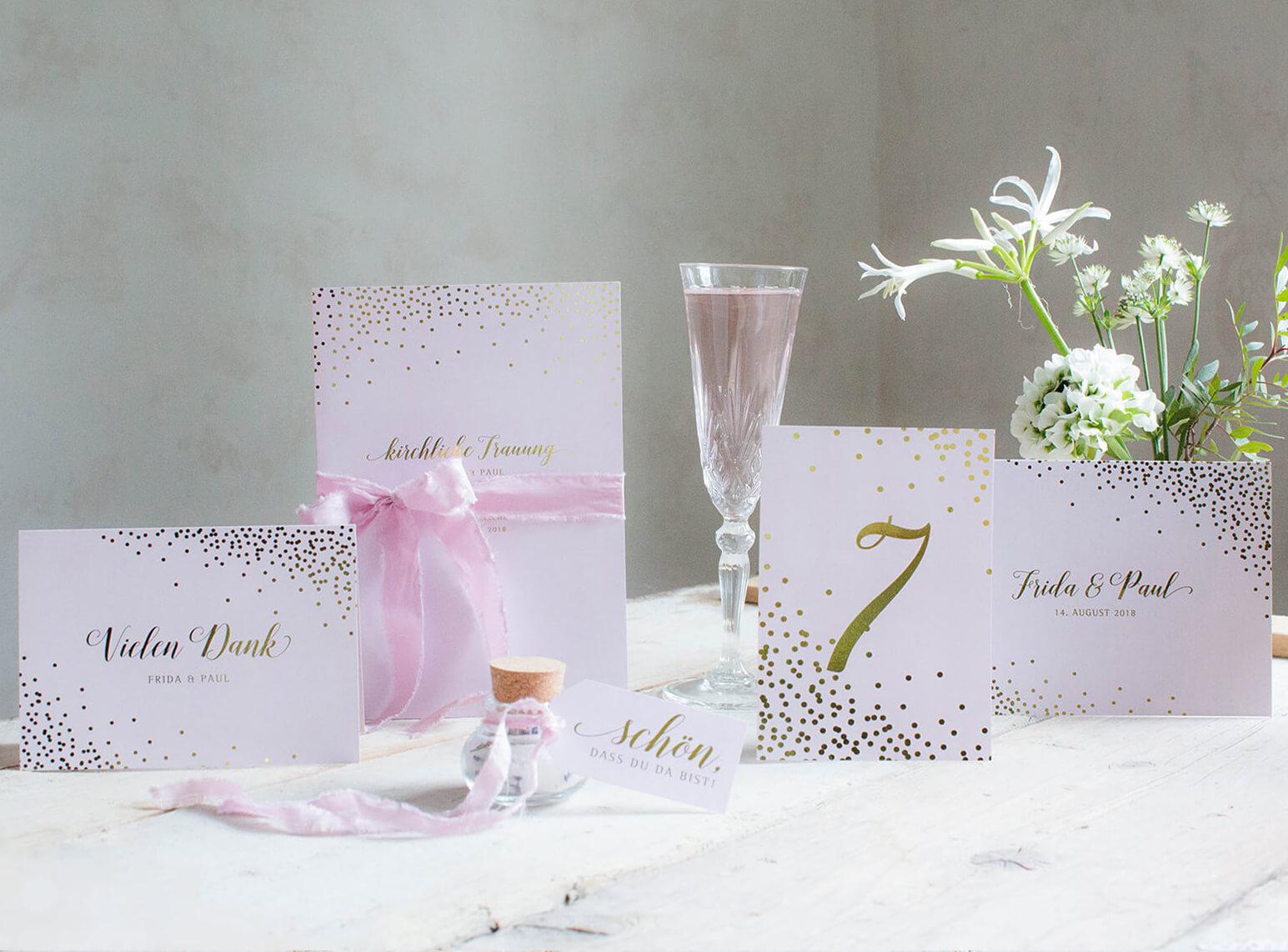 Hochzeitskarten mit Gold