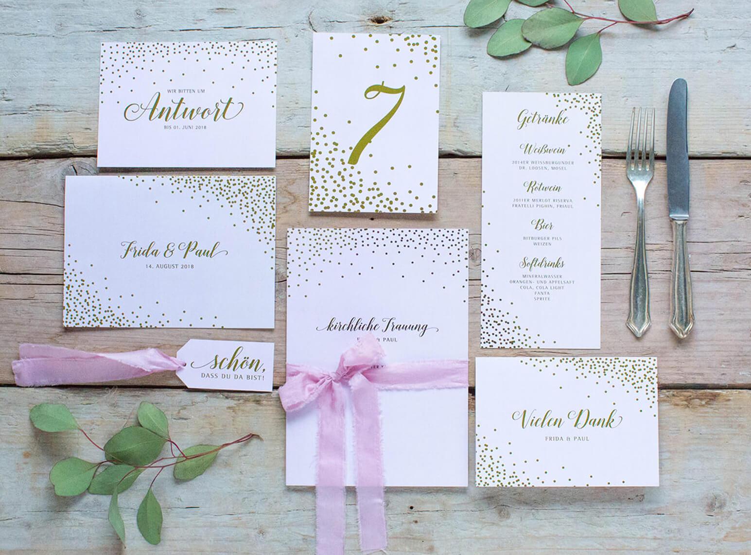 Hochzeitskarten Set mit gold