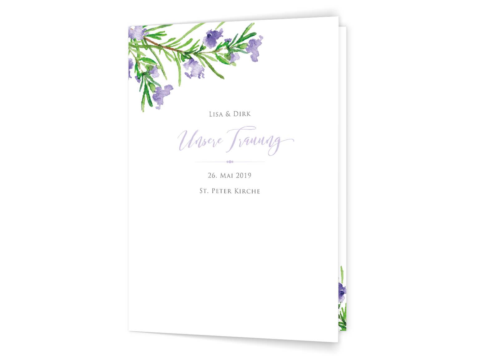 Hochzeit Kirchenheft-Umschlag Rosmarin Zweige in grün und violet Auqarell
