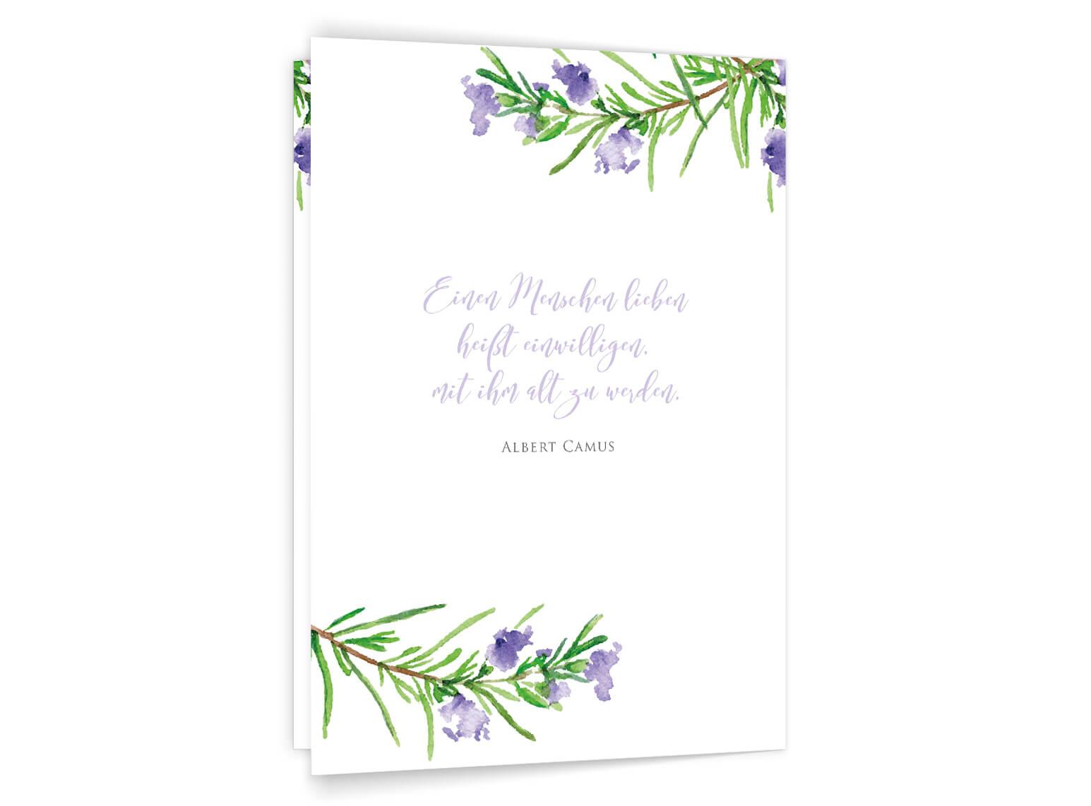 Kirchenheft-Umschlag Rosmarin Zweige Aqurell in grün und violet Rückseite