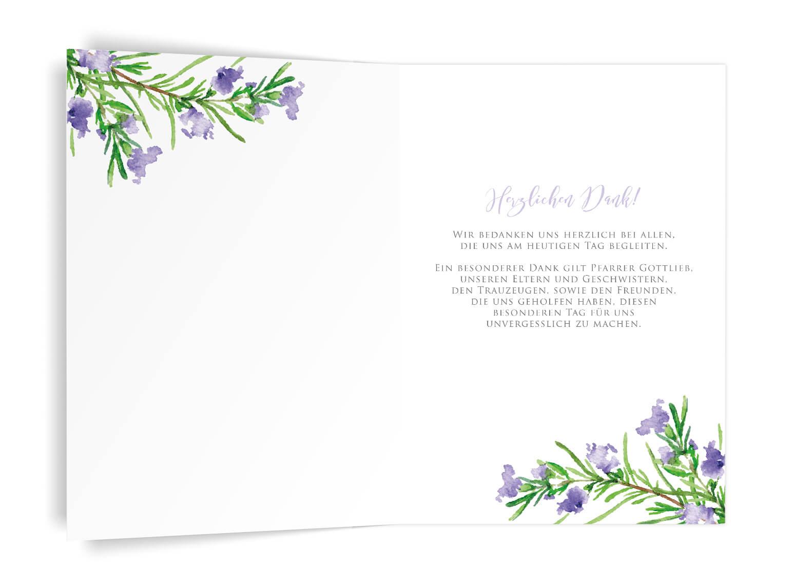 Kirchenheft-Umschlag Rosmarinzweige innenseiten in grün und violet
