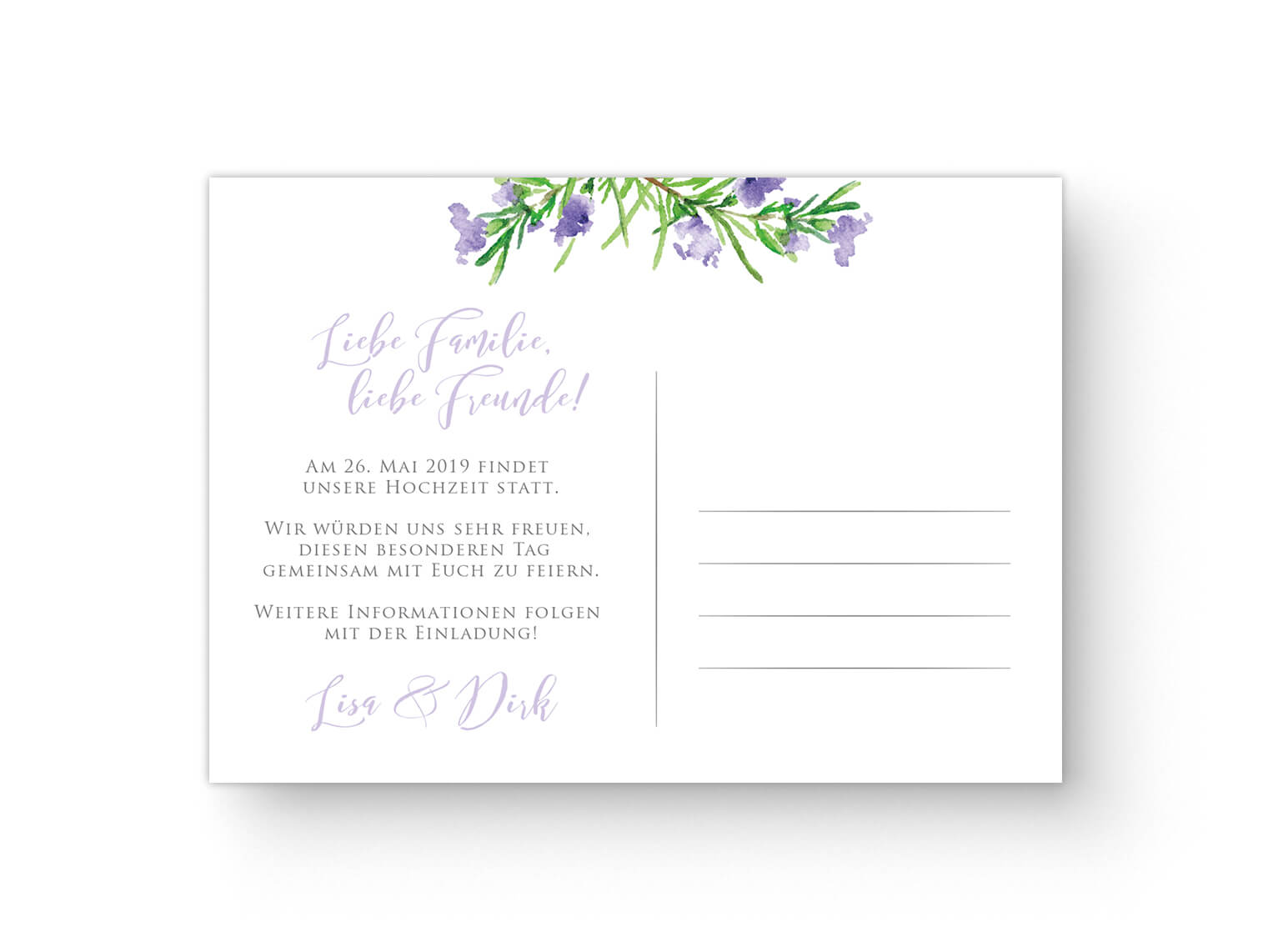 Save The Date Karte Rückseite Aquarell Violett