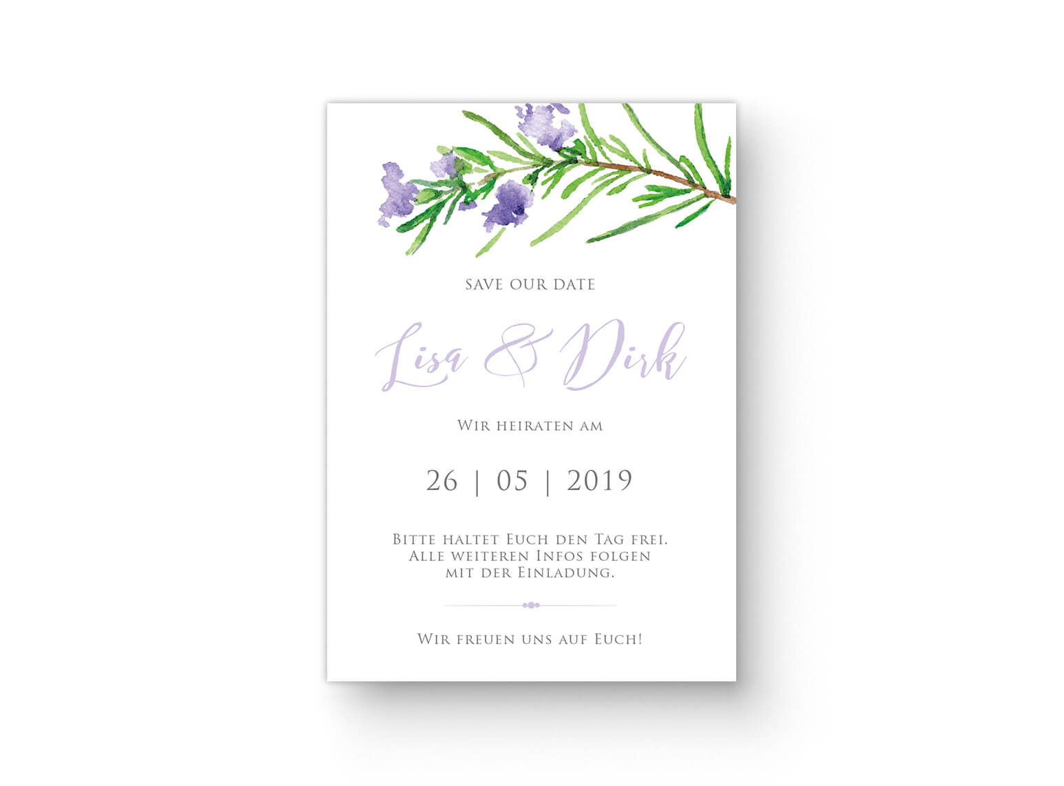 Save-The-Date Karte Rosmarin Aquarell Grün, Violett