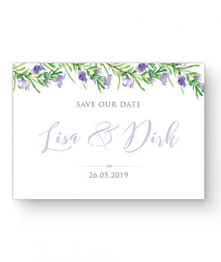Save the Date Karte Sommer Hochzeit , Namen im Aquarell, Violett Grün, eukalyptus