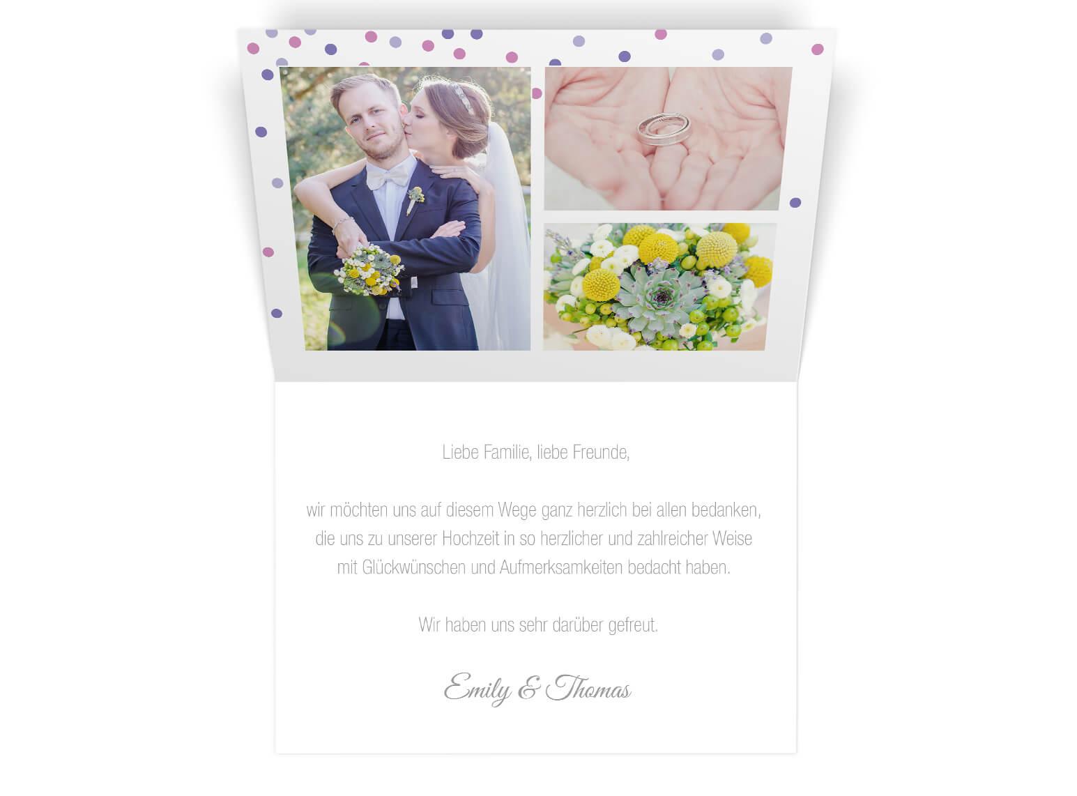 Hochzeit Dankeskarte Klappkarte modernes edles Design mit Fotos innen