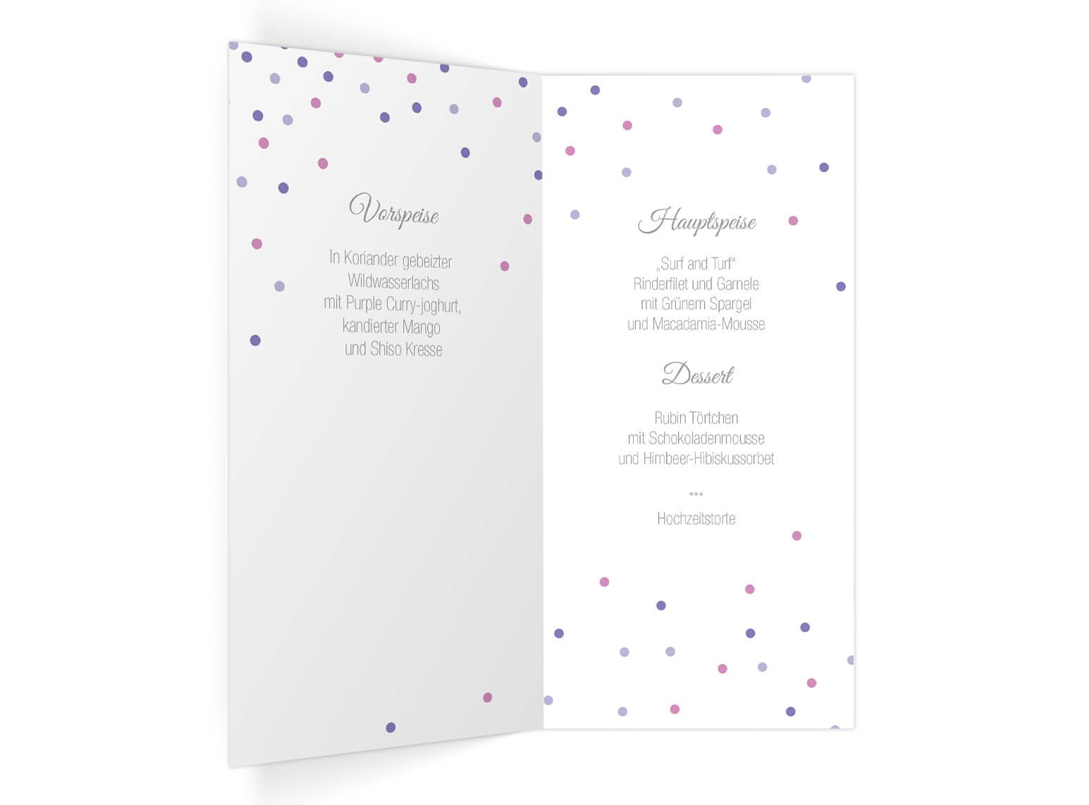 Hochzeits Menüklappkarte im modernen elegantem Design Innenseiten