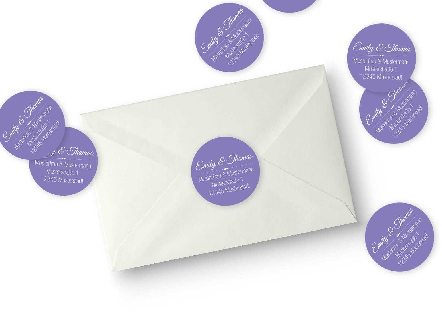Adressaufkleber für deine Hochzeitseinladung rund Violett