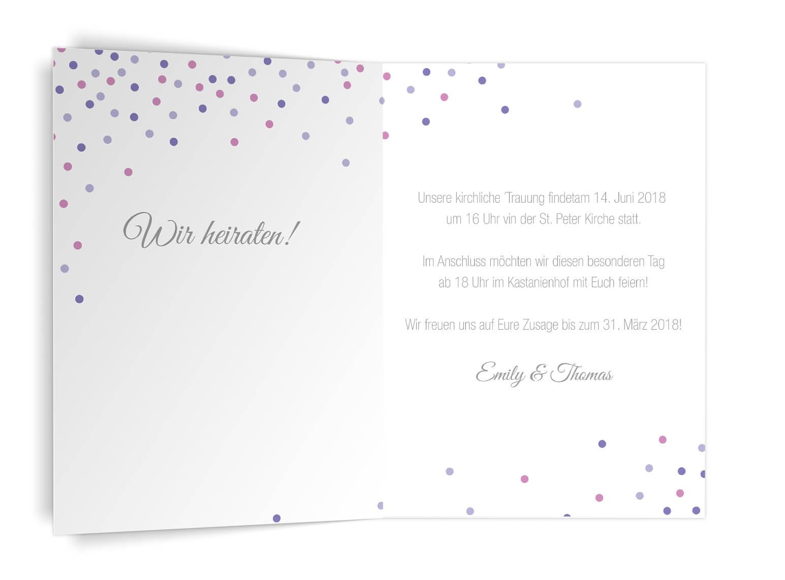 Trendige Hochzeitseinladung Confetti Klappkarte Diplomat Hochformat Innen