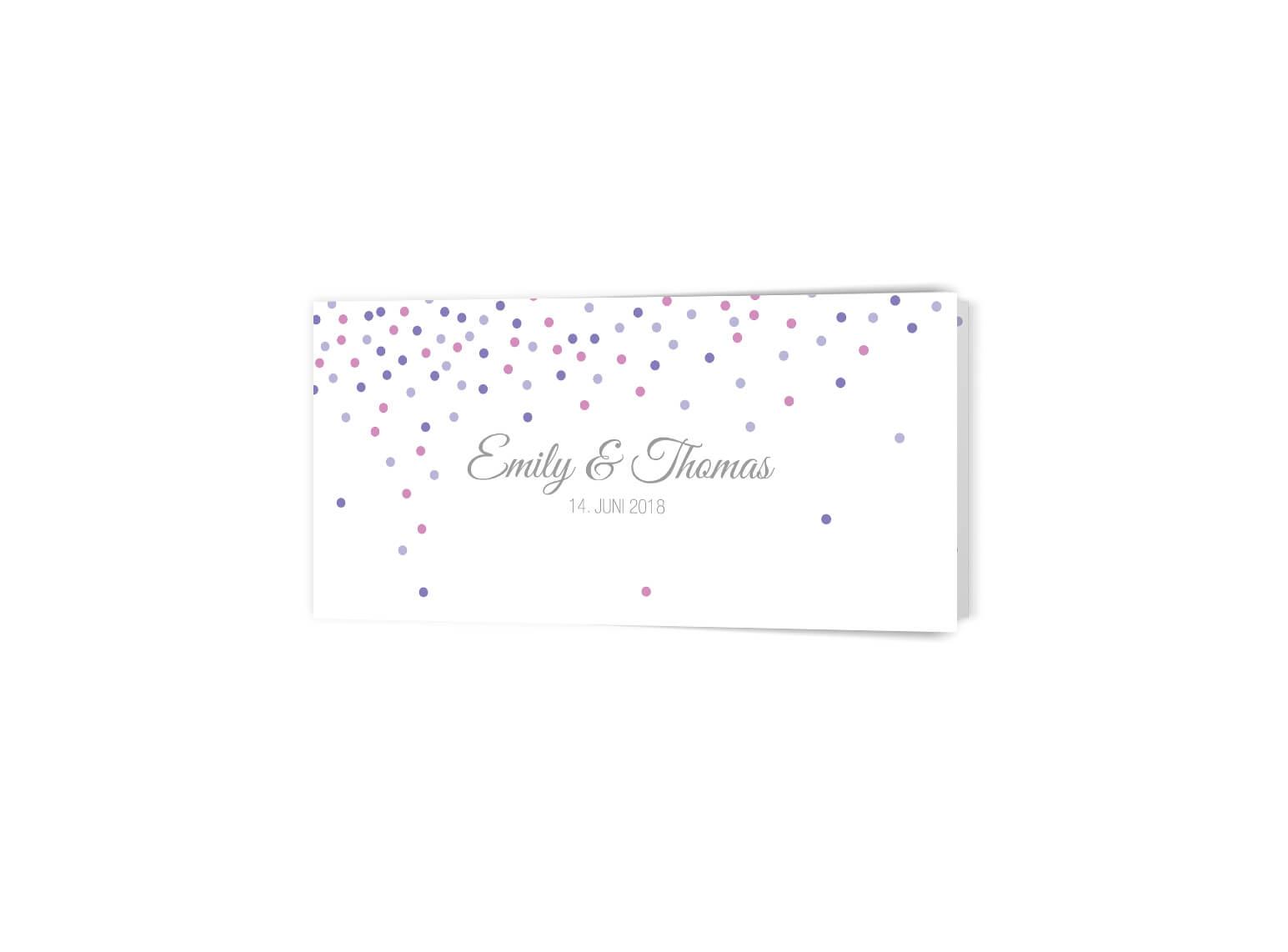 Trendige Hochzeitseinladung Confetti Klappkarte Langformat