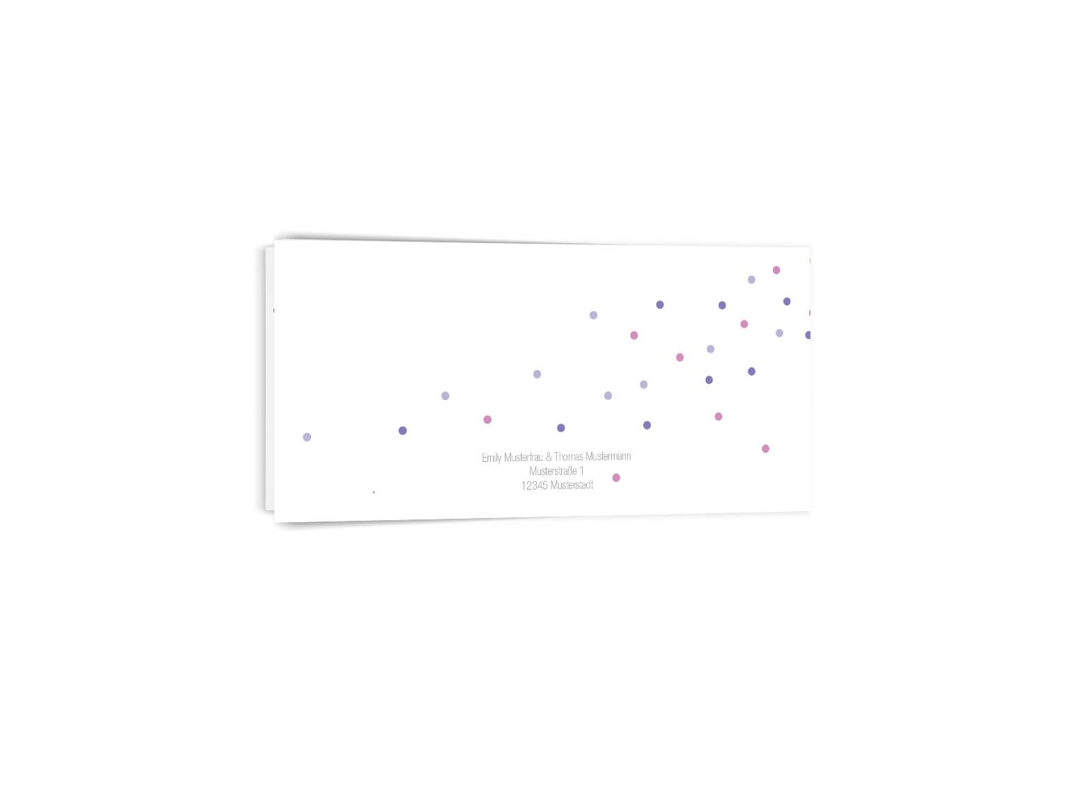 Trendige Hochzeitseinladung Confetti Klappkarte Langformat Rückseite