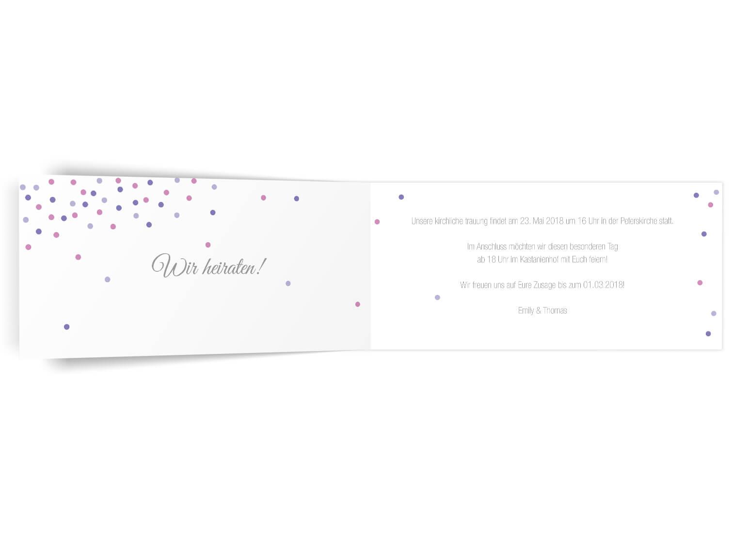 Trendige Hochzeitseinladung Confetti Klappkarte Langformat innen