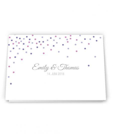 Modern verspielte Hochzeitseinladung Klappkarte Diplomat Format Confetti