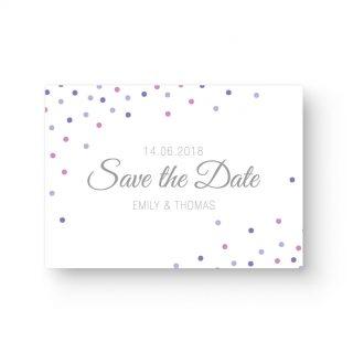 Save the Date Postkarte Hochzeit elegante Schrift lila rosa