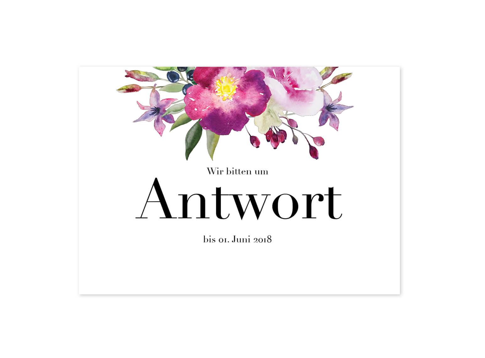 Antwortkarte Hochzeit Rosen Design
