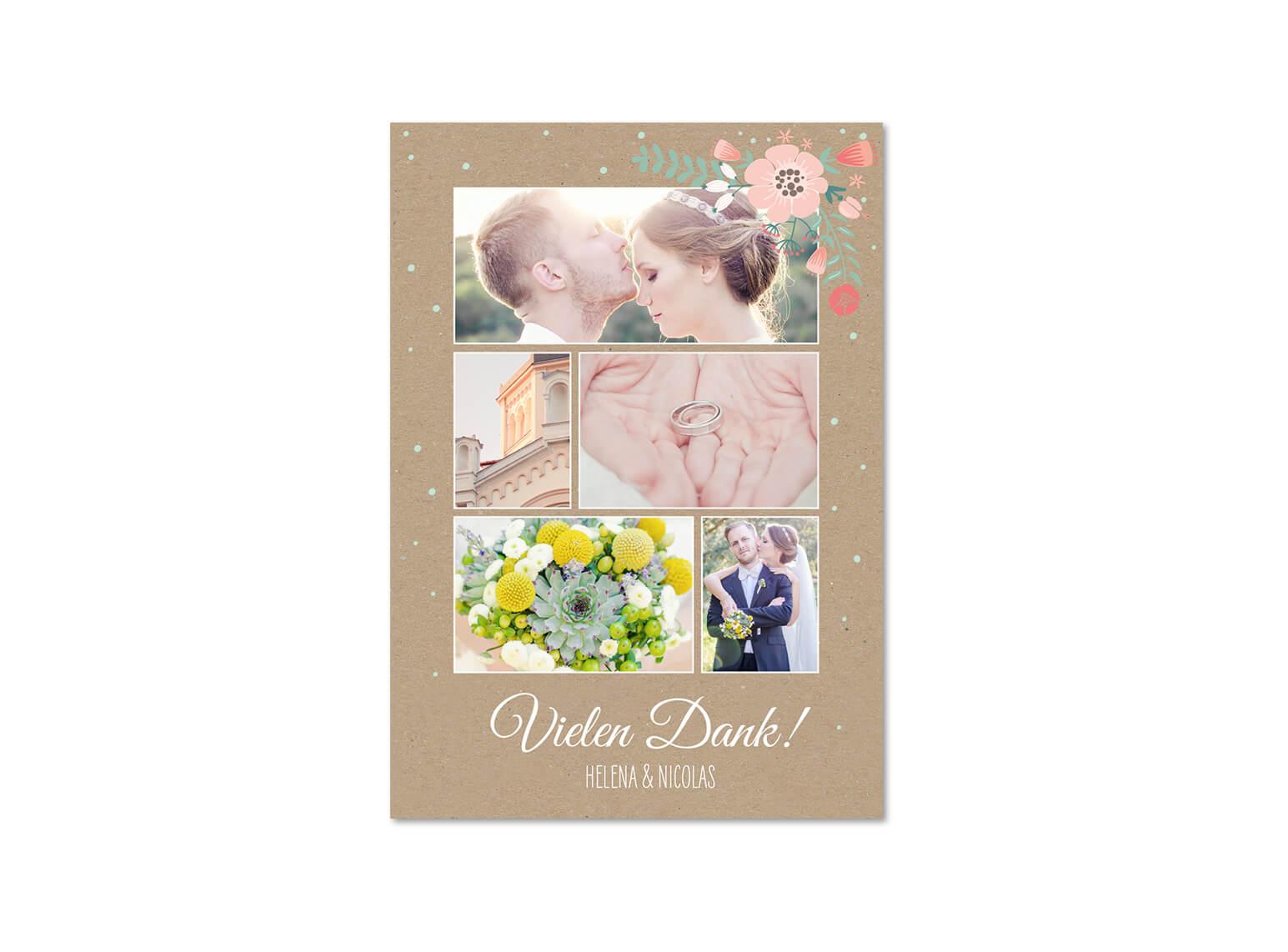 Dankeskarte Hochzeit mit Fotos
