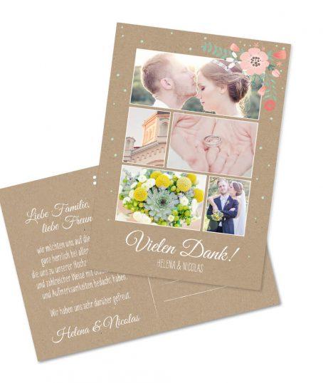 Dankeskarte Postkartenformat Romantsich verspieltes blumen vintage Design auf Kraftpapier