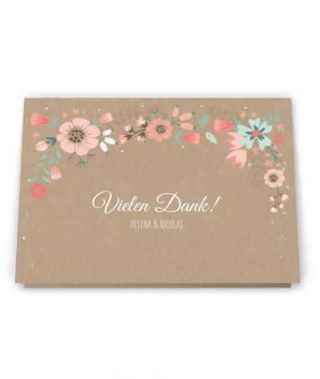 Dankesklappkarte im Rustikalen Verspielten Blumen design Kraftpapier Hochzeitspapeterie