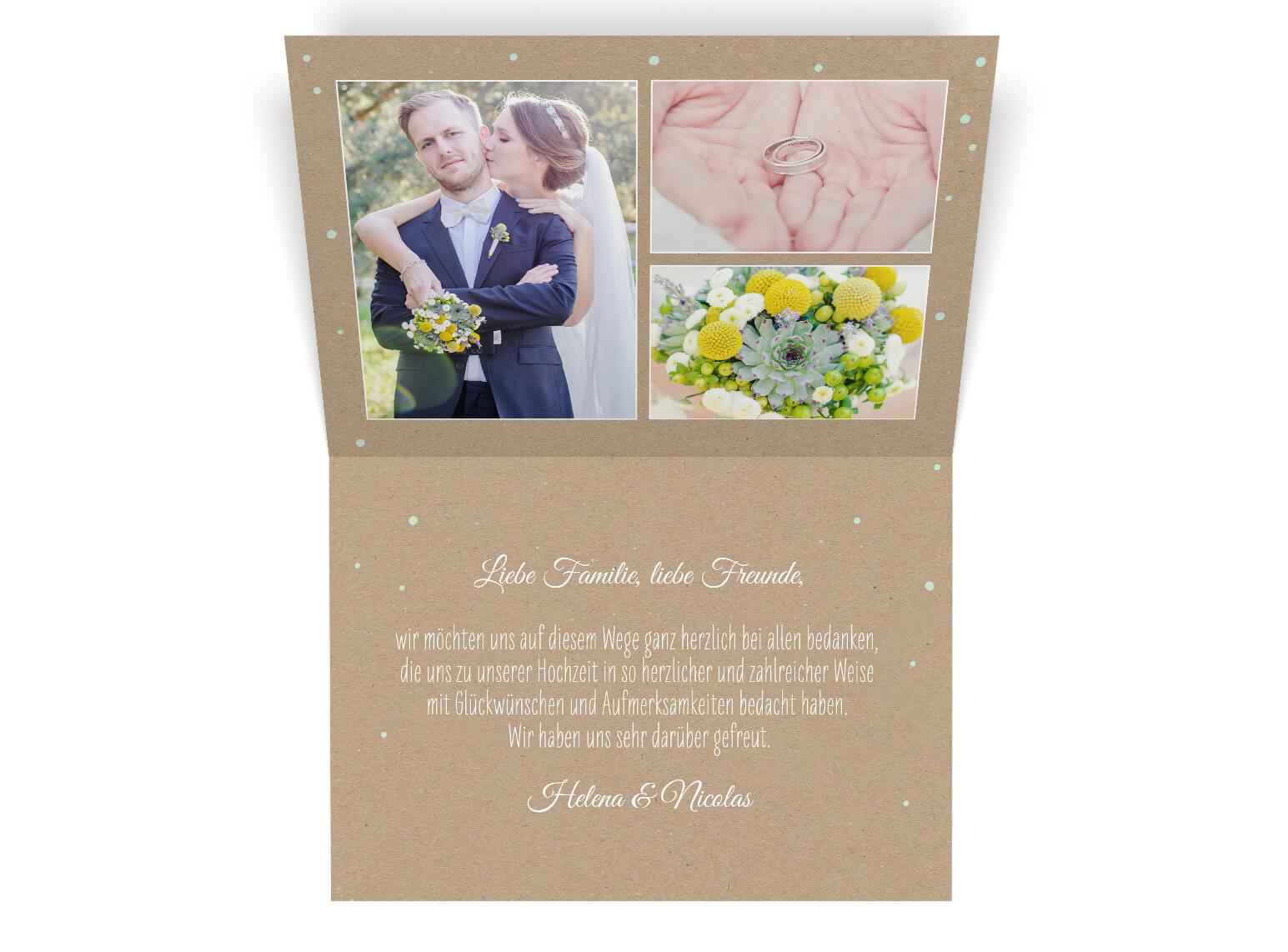 Dankesklappkarte mit Foto im Rustikalen Verspielten Blumen design Kraftpapier