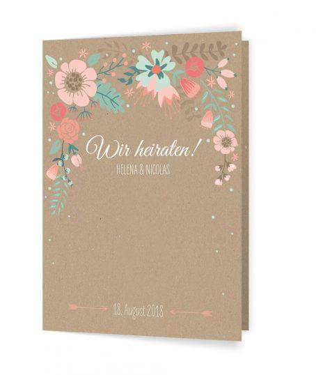 Hochzeitseinladung im Vintage Stil auf brauner Kraftpapieroptik, Blumige Vintage Hochzeitseinladung, Sommerhochzeit