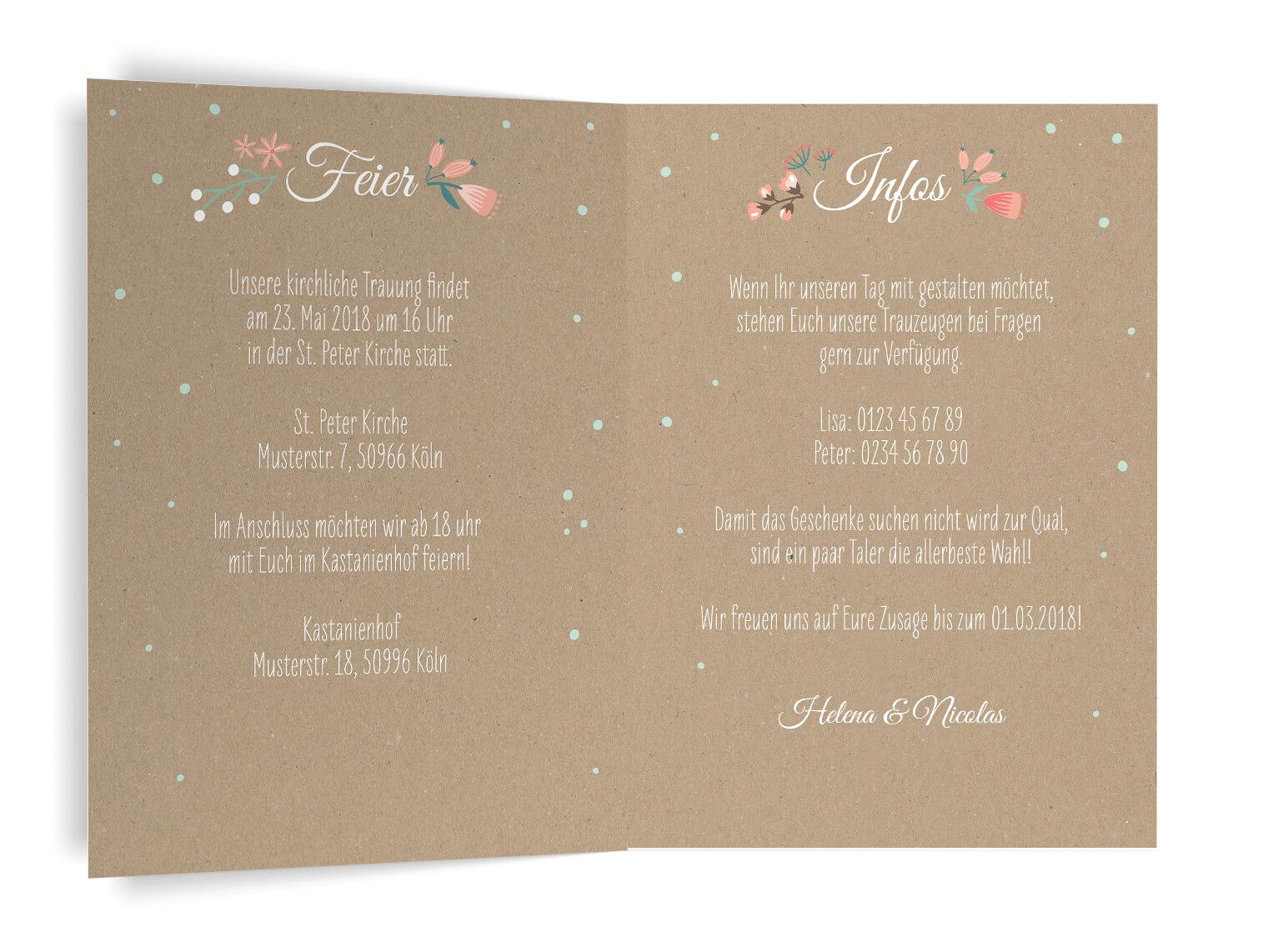Rustikale Hochzeiteinladung Kraftpapier blumen