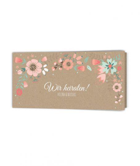 Romantsich blumige Hochzeitseinladung Kraftpapier Klappkarte langformat