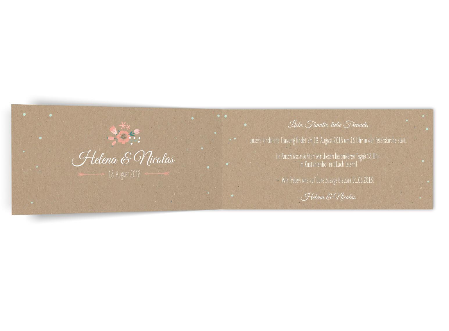 Romantisch Vintage sommer Hochzeitseinladung Klappkarte langformat