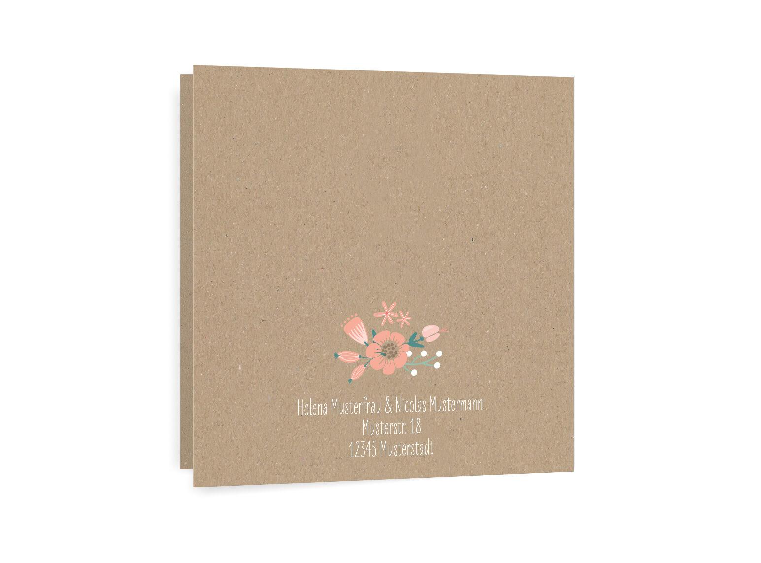 Rustikale Hochzeitseinladunge Sommer Blumen Klappkarte qudratisch rückseite