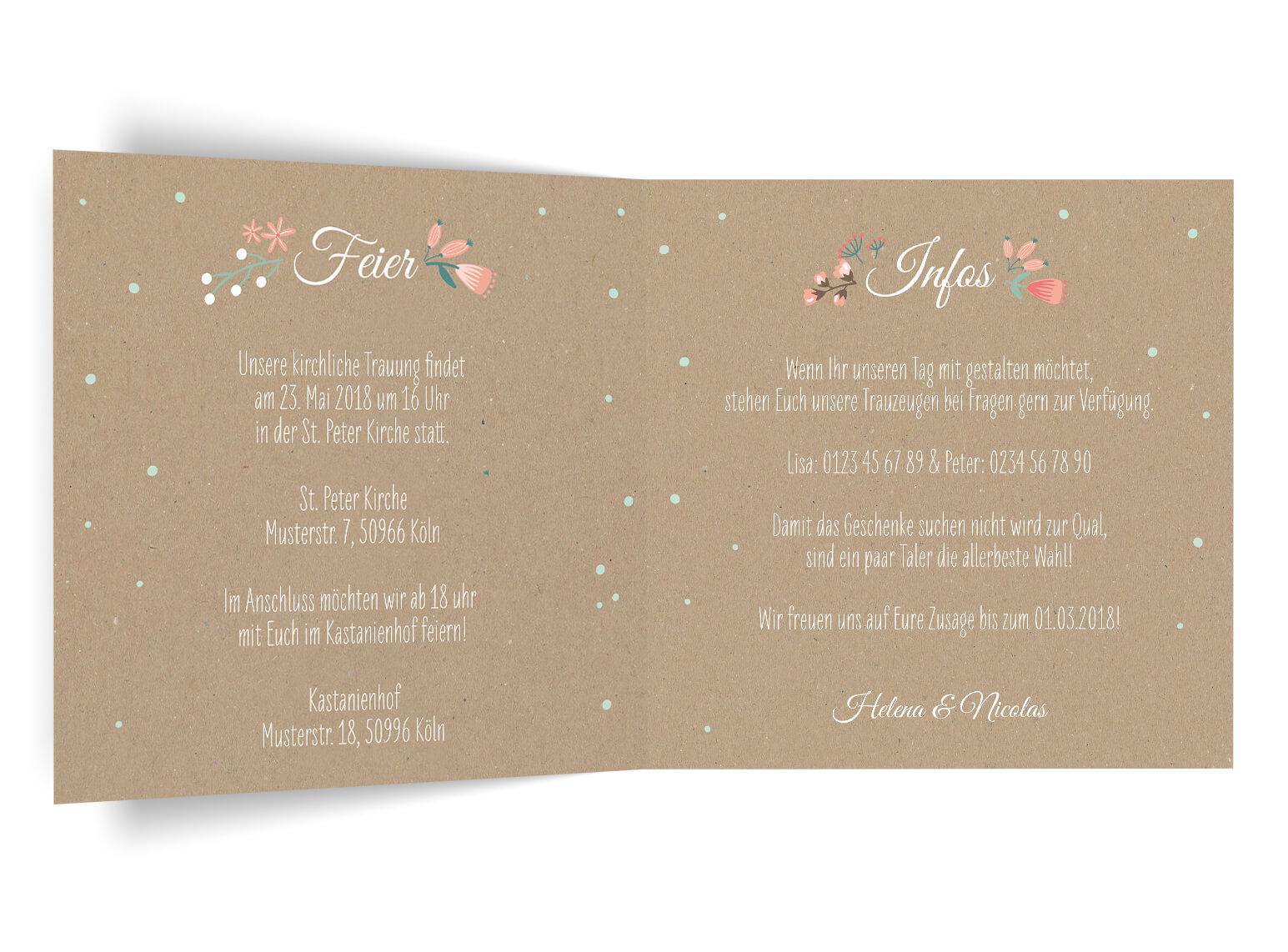 Vintage Hochzeitseinladung Kraftpapier Blumen