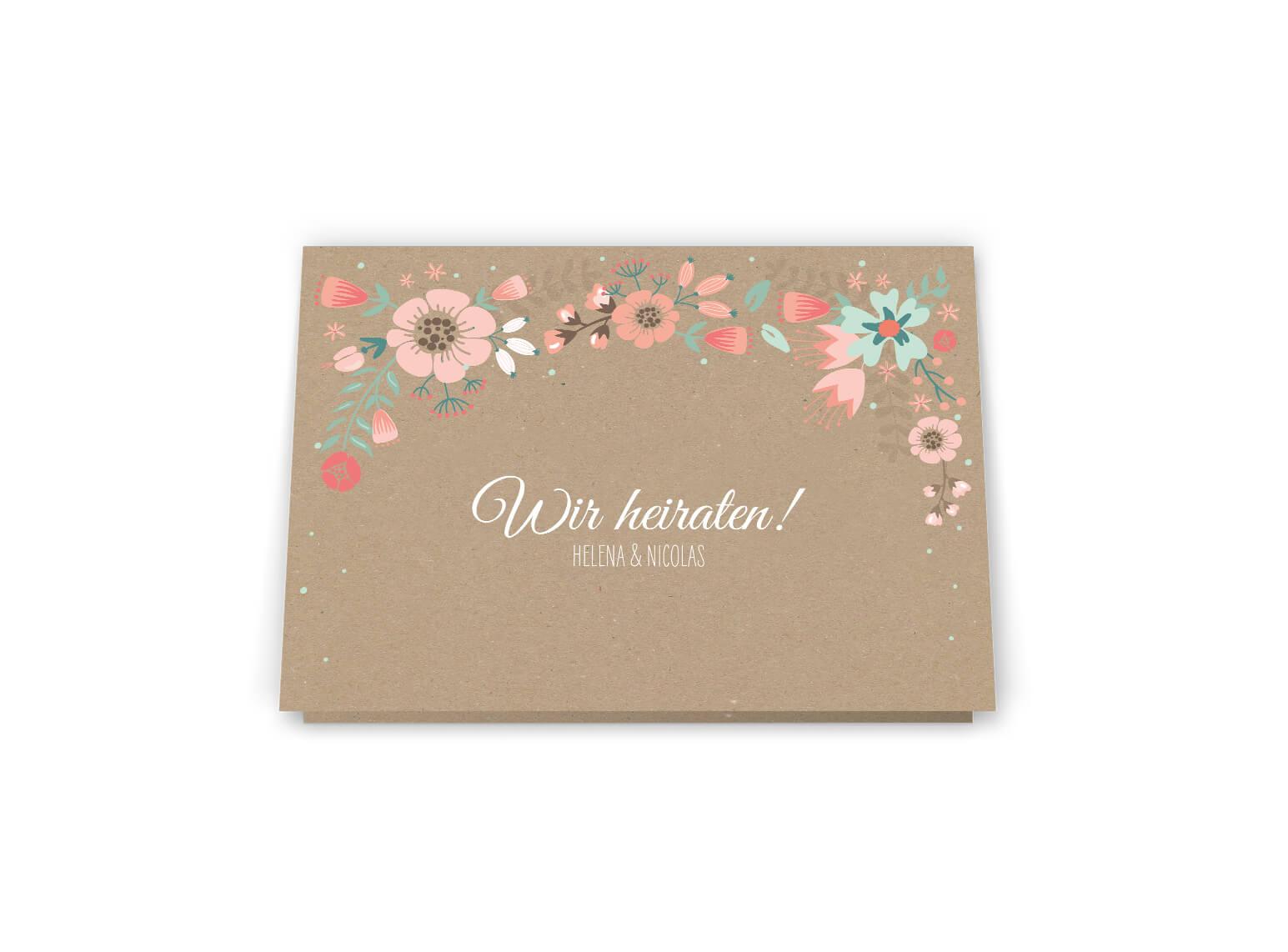 Hochzeitseinladung, Vintage, Kraftpapier im Blumen Design