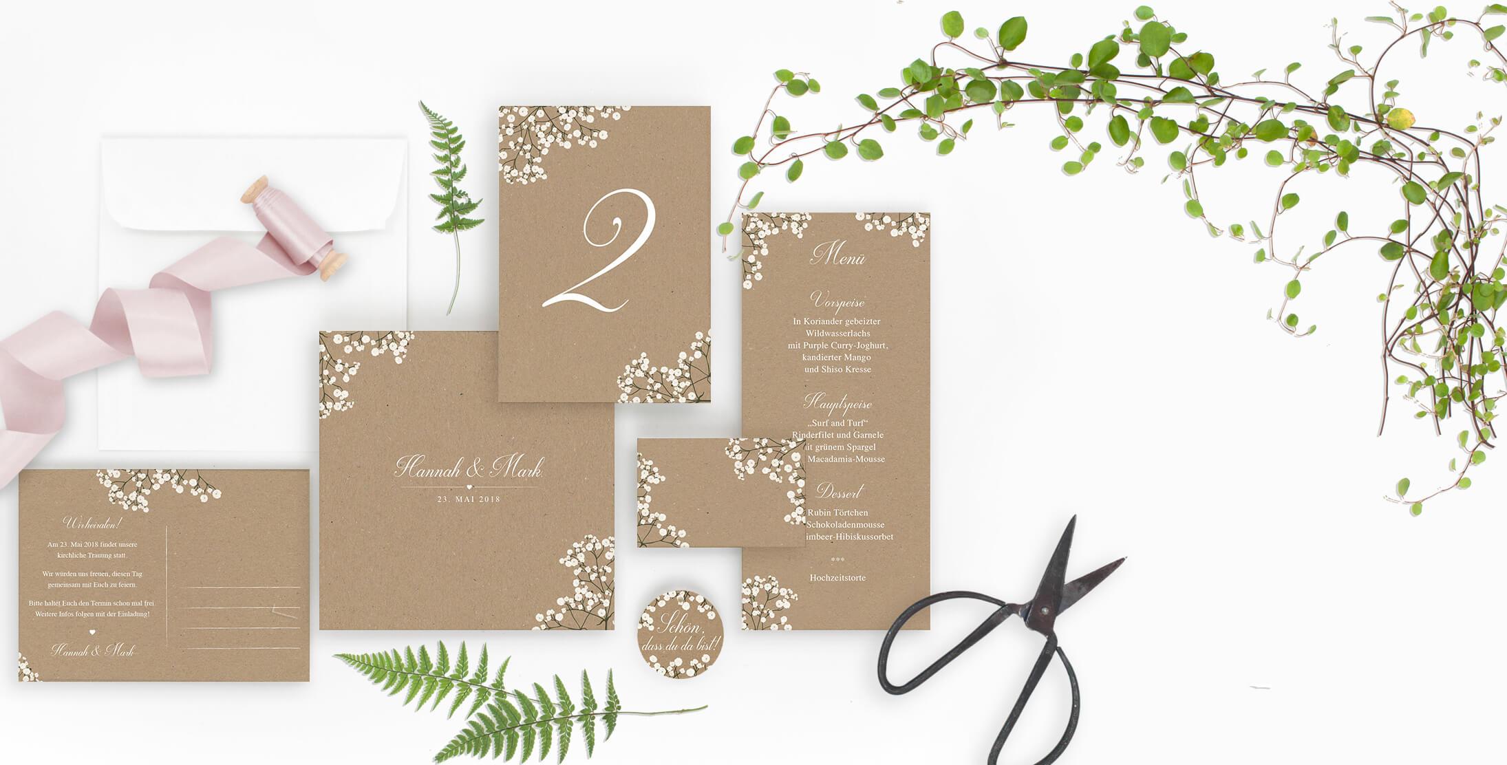 Marry Paper Hochzeitskarten Hochzeitseinladungen Flourish Pompom