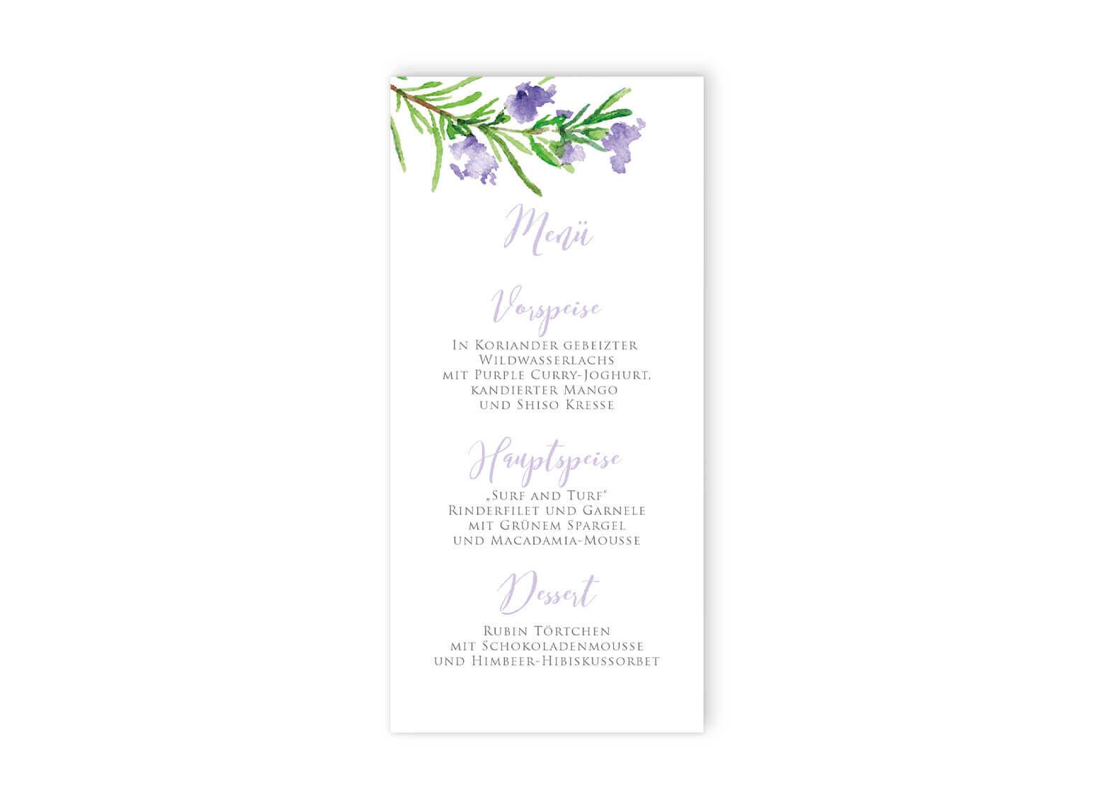 Hochzeitsmenükarte Rosmarinzweige Aquarell, violett, lila
