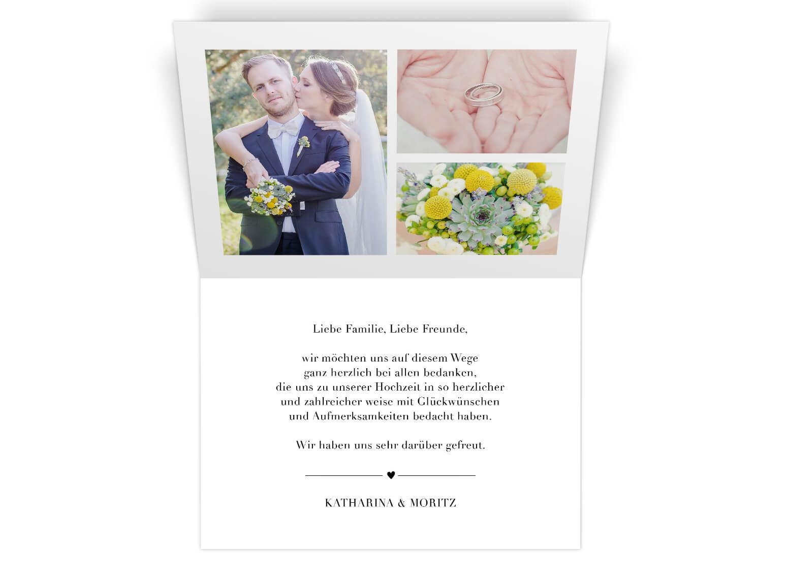 Elegante Dankeskarte mit Foto, Klappkarte, Schwarz/Weiss,