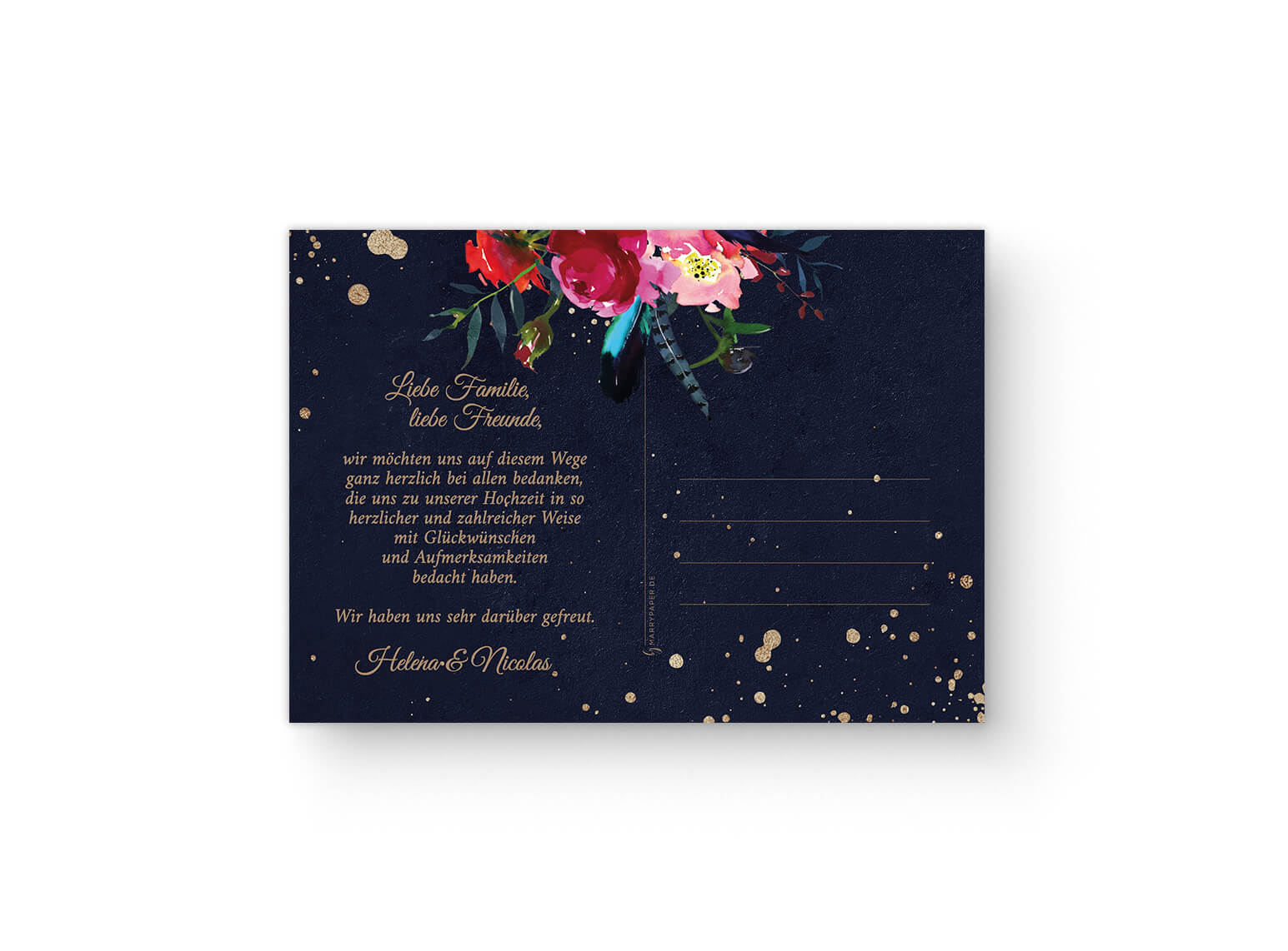 Dunkelblaue Dankeskarte Boho Hochzeit Dunkelblaue Hochzeitseinladung mit Aquarellblumen