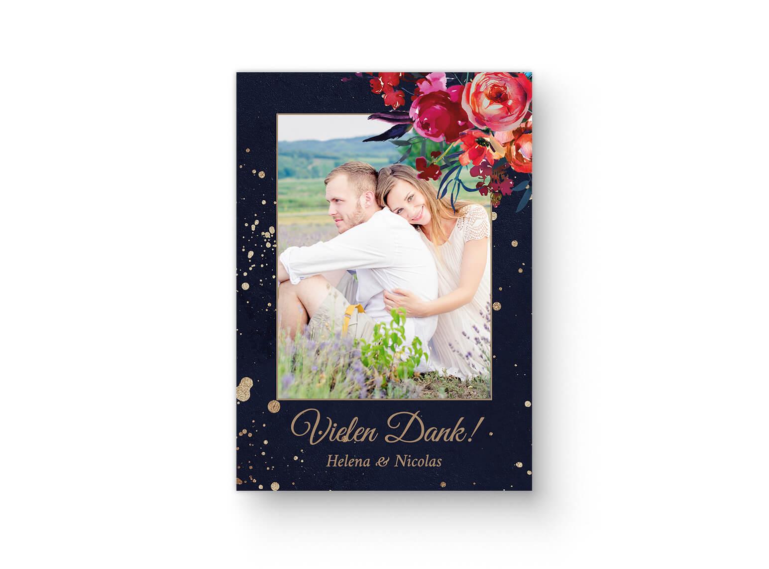Schicke Dankeskarte Boho Hochzeit mit Fotos