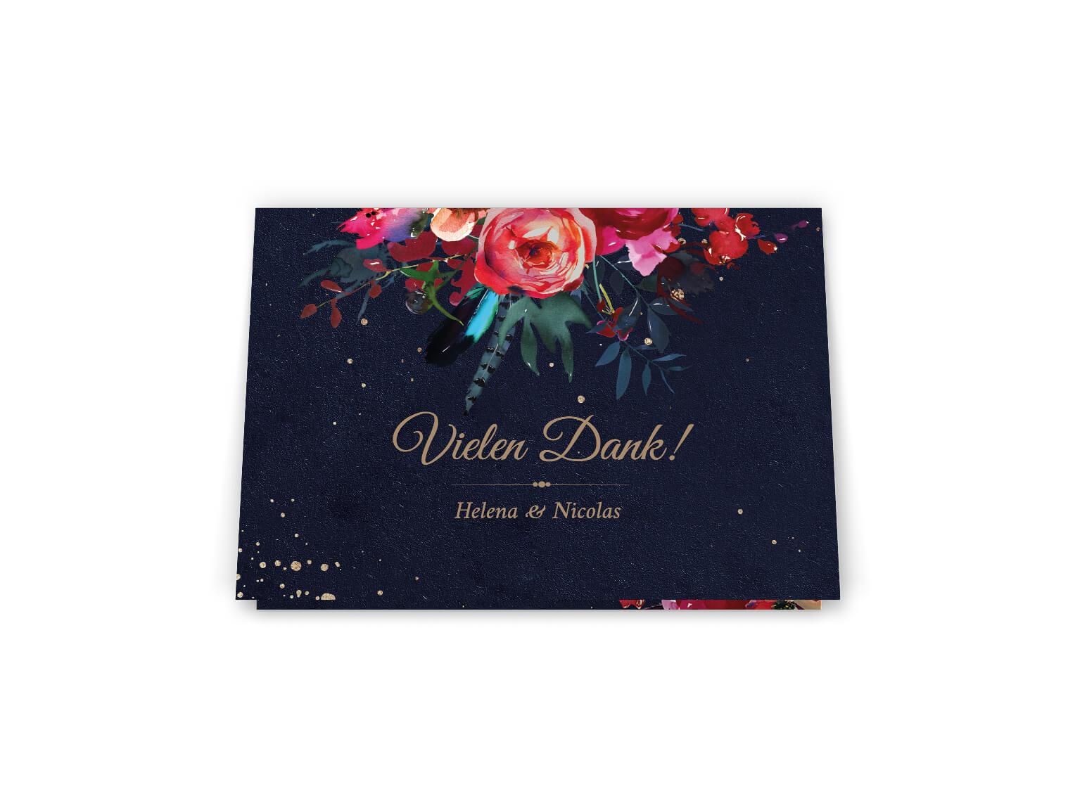 Nacht Dankeskarte Boho Hochzeit | dunkle Blumenverzierte Dankeskarte Klappkarte Din A6