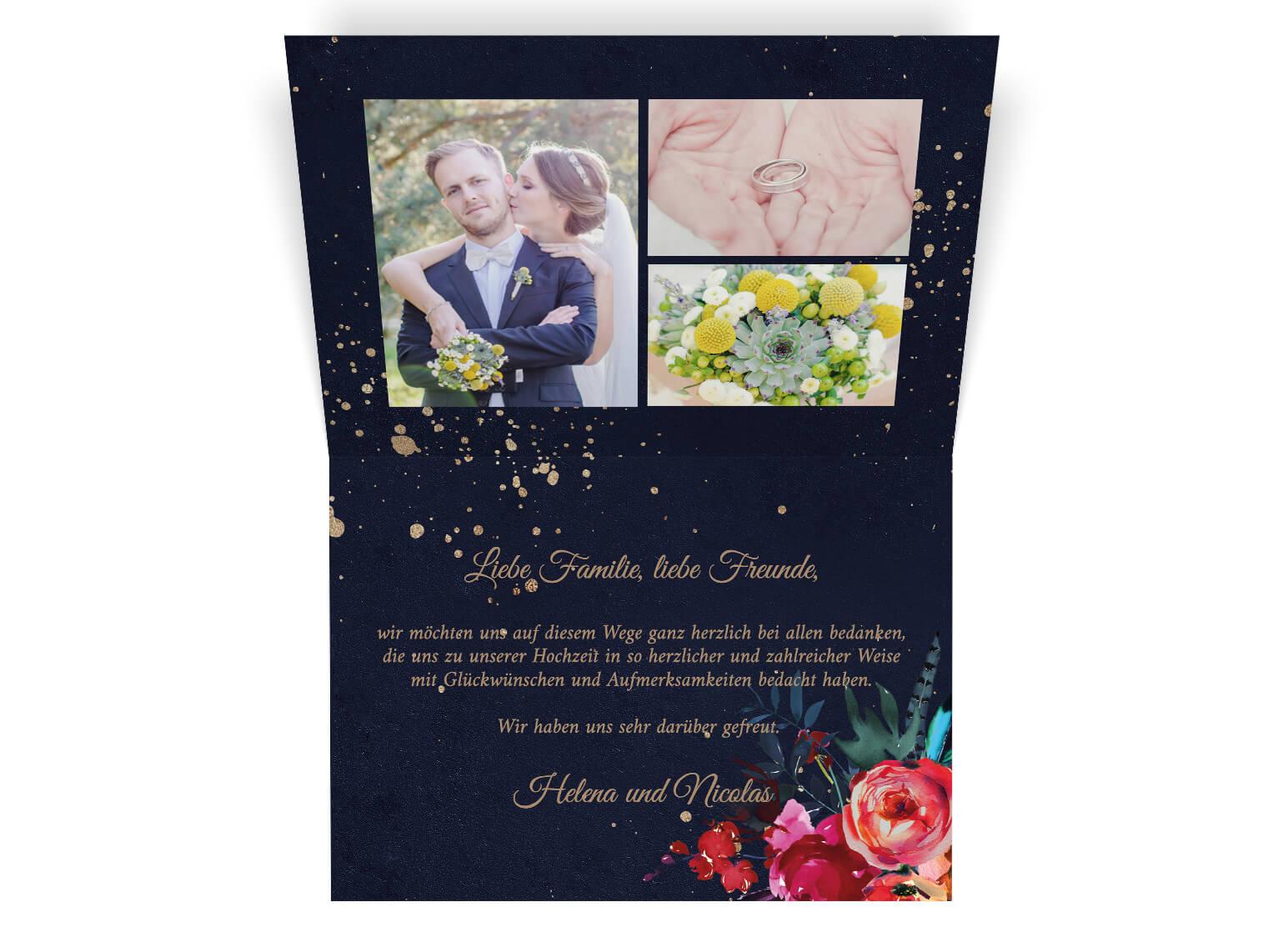 Romantische blumenverzierte Dankeskarte Hochzeit mit Fotos | Din A6 Klappkarte querformat