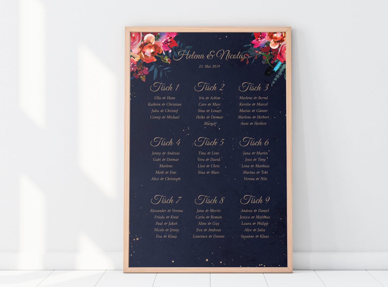 Sitzplan Poster Hochformat Boho Hochzeit