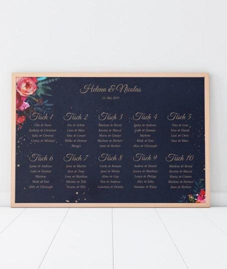 Sitzplan Poster Querformat Boho Hochzeit