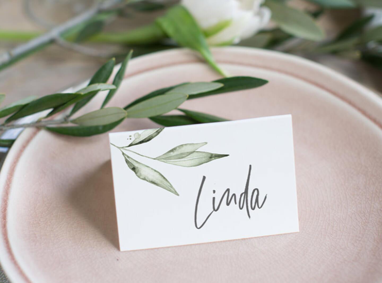 Tischkarte, Platzkarte, olive zweig