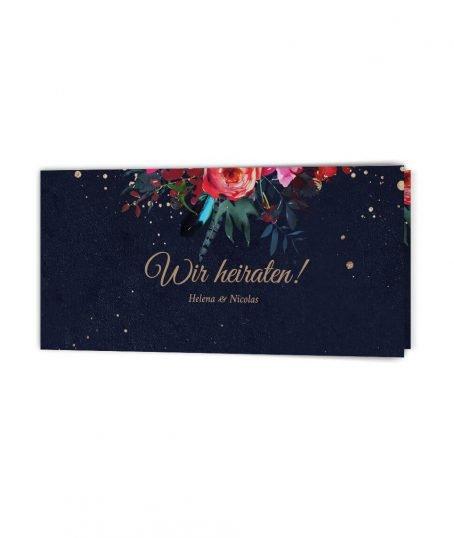 Blumenverzierte Boho Hochzeitseinladung Din Lang