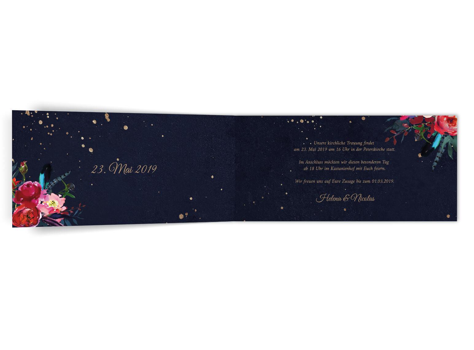 Nacht Hochzeitseinladung | dunkle Blumenvertierte Einladung zur Hochzeit